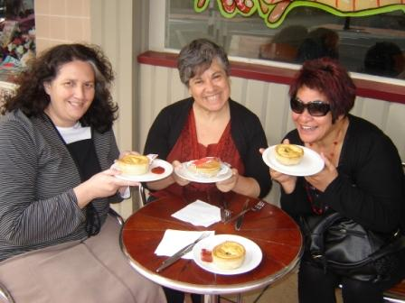 Terrisa, Carol Brandenbury (of Lincoln) and Georgie outside McGregors, Palmerston